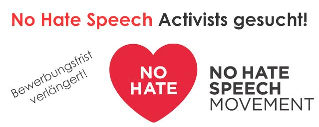 Banner für die Ausschreibung No Hate Speech Aktivist_innen gesucht