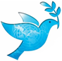 blaue Taube mit Zweig im Mund - Banner für Aktionstag