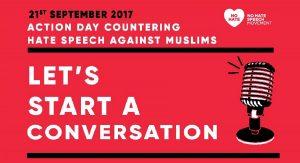 Banner zum Aktionstage gegen Antimuslimischen Rassismus - Let's start a Conversation