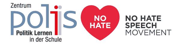 """Das Logo von Zentrum polis und das """"No Hate"""" Herz der No Hate Speech Movement Kampagne"""