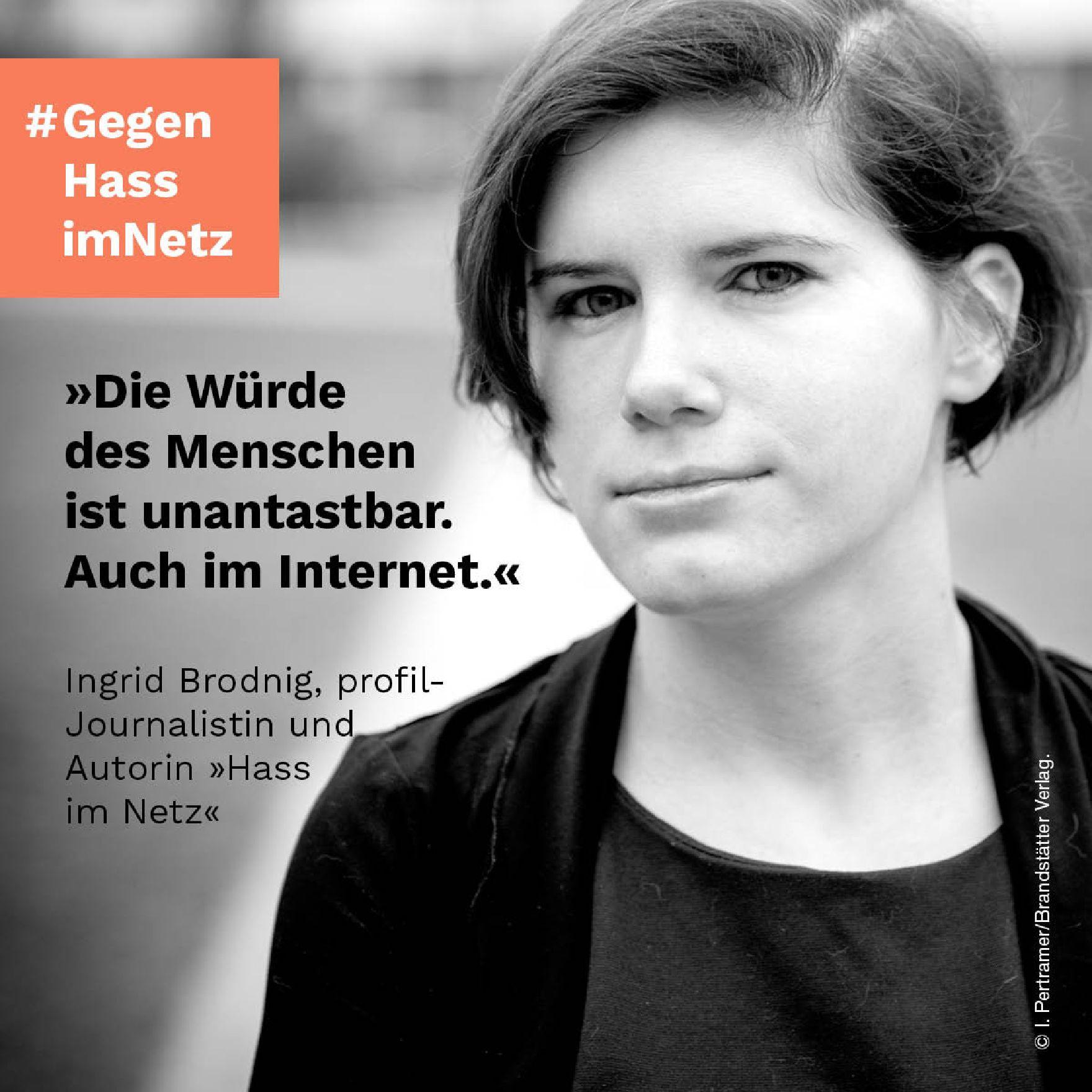 Poster der Plakatreihe #Gegen Hass im Netz mit Ingrid Brodnig.