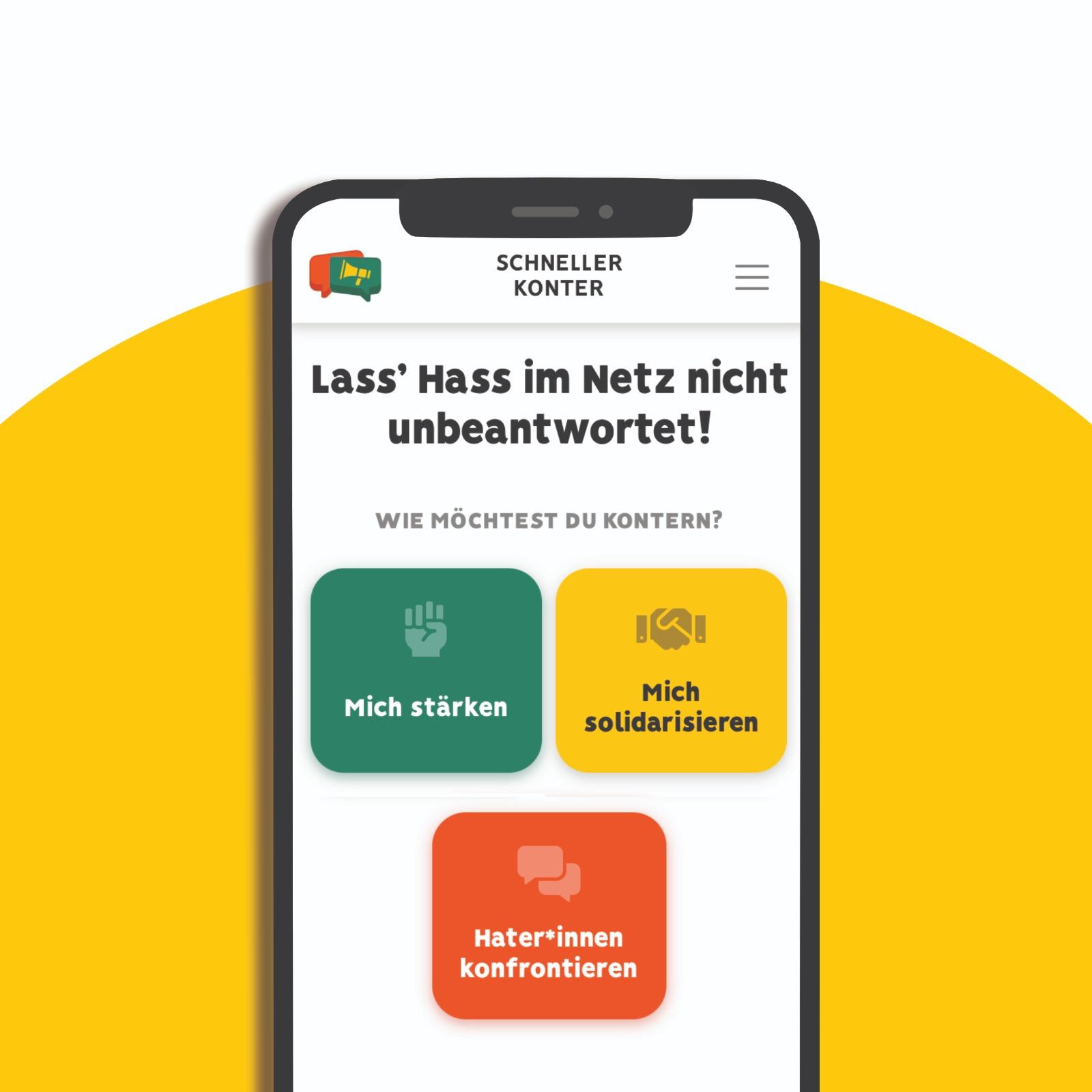 """Das Bild zeigt ein Handy auf dem steht """"Lass Hass im Netz nicht unbeantwortet"""""""