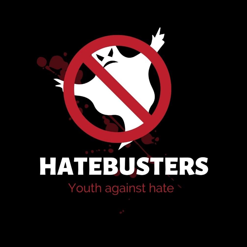 Das Bild zeigt das Logo des Projektes Hatebusters. Es ist ein durchgestrichenes Gespenst zu sehen.