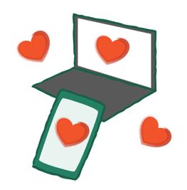 Die Graphik zeigt einen Laptop und ein Handy mit vielen Herzen.